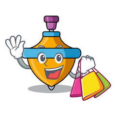 shopping spinning top character cartoon vector image