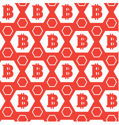 simple seamless pattern bitcoins signs on red vector image