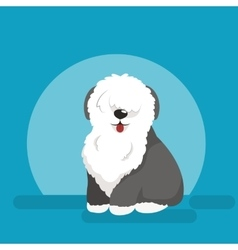 Sitting funny dog Old English vector