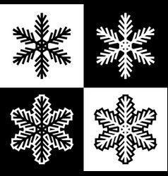 snowflake symbols icons simple black white set 2 vector image