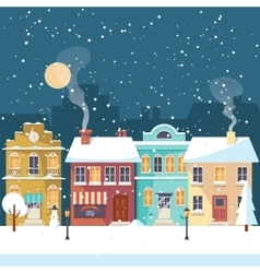 snowy christmas night in cozy town greeting vector image