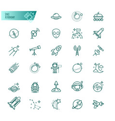 space astronomy thin line icons set vector image