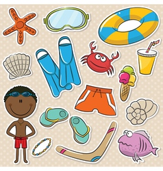 Summer Beach Rest African-American Boy vector image