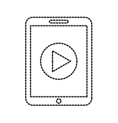 technology tablet device movie player button vector image