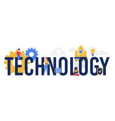 Technology word concept cartoon innovative idea vector