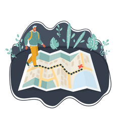 traveler man using map vector image