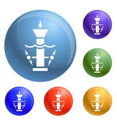 underwater turbine icons set vector image