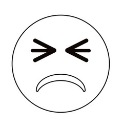 Unhappy face emoticon funny thin line vector