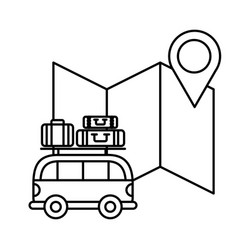 van car suitcases location map travel vacations vector image
