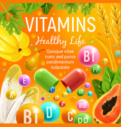 Vegetable salads and fruits healthy vitamins vector