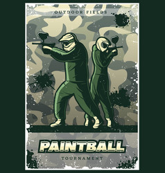 Vintage colorful paintball club poster vector