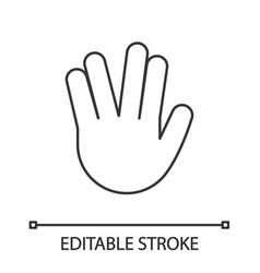 Vulcan salute emoji linear icon vector