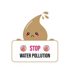 Water drop character asking stop pollution vector