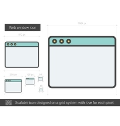 Web window line icon vector