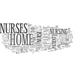 Where to find a home nurse text word cloud concept vector