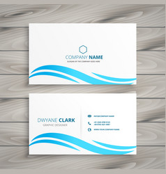 white business card with blue wave vector image