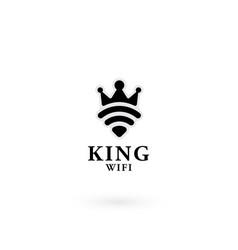 Wifi king logo design template vector