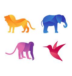 Wild animals jungle pets logo silhouette vector