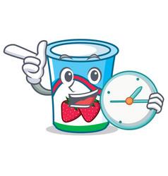 With clock yogurt character cartoon style vector