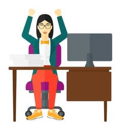 Woman working at office vector