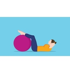 women sit up use exercise ball graphic vector image