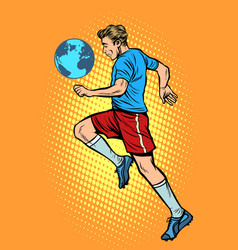 world championship football player with planet vector image