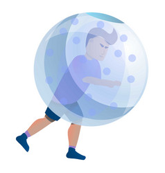 Zorb soccer player icon cartoon style vector
