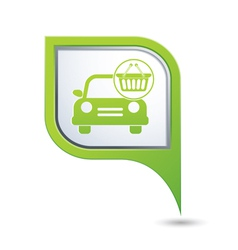car with shop basket icon on green pointer vector image vector image