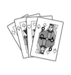 poker casino cards queen symbol vector image