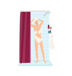 smiling man standing taking shower and lathering vector image