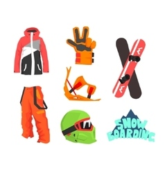 Snowboarding Gear Collection vector image vector image