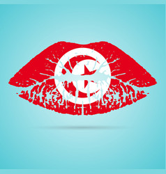 tunisia flag lipstick on the lips isolated on a vector image vector image