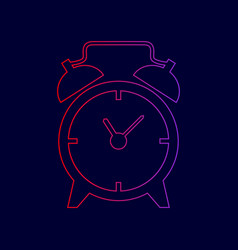 alarm clock sign line icon with gradient vector image vector image