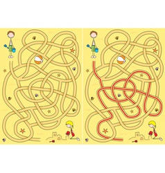 beach maze for kids vector image