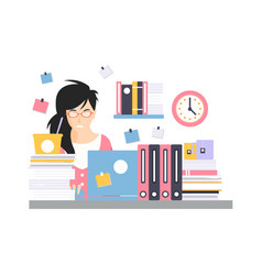 busy young businesswoman character sitting at the vector image