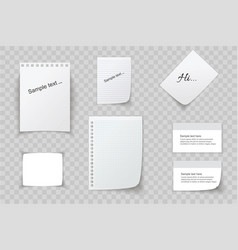 collection of various white papers leaves for the vector image