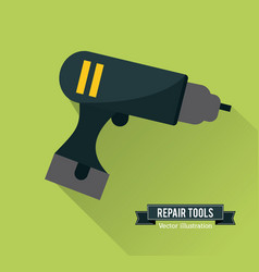 Drill tool icon repair concept graphic vector