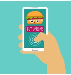 Hand holding smartphone with buy online internet vector