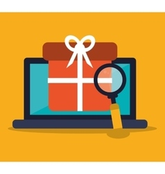 Laptop shopping and ecommerce design vector