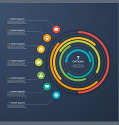 presentation infographic circle chart 7 options vector image