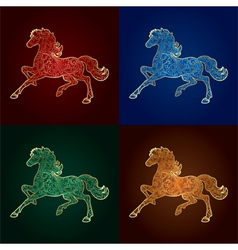 Set of vintage horse silhouette on colored backgro vector image vector image