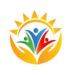 Teamwork people hands and sun logo vector image