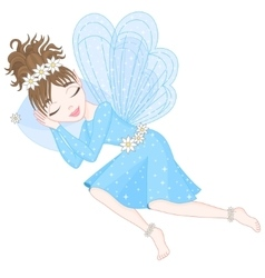 Cute fairy in blue dress with transparent wings is vector image