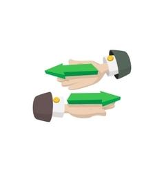Hand with arrows icon cartoon style vector image vector image