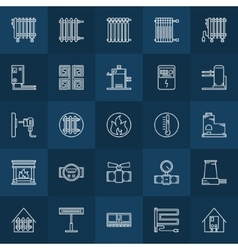 Home heating icons set vector image vector image