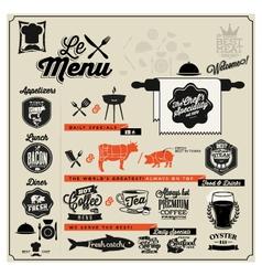 Retro vintage style restaurant menu designs vector image