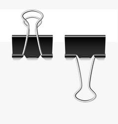 Black metal binder clips vector image vector image