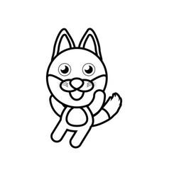 cartoon fox animal outline vector image