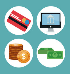 Color background icons investment economy in vector