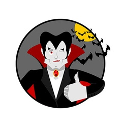 Dracula Thumbs up shows well Vampire winks Sign vector image vector image